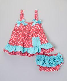 Turquoise & Hot Pink Quatrefoil Dress & Bloomers - Infant