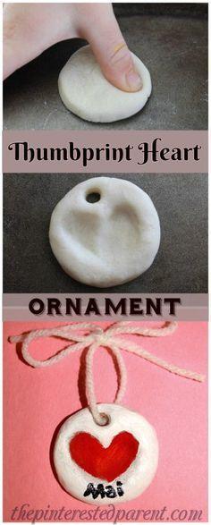 Salt Dough Clay Thumbprint Heart Ornament for Valentine's Day