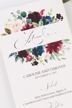 Burgundy and Navy Wedding Reception Menus. The Grace Collection features lovely watercolor florals in navy and burgundy. Burgundy Wedding Invitations, Vintage Wedding Invitations, Wedding Stationary, Wedding Favours Burgundy, Blue Wedding, Wedding Favors, Card Box Wedding, Wedding Menu, Wedding Book