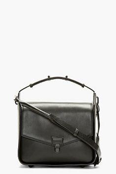 3.1 Phillip Lim Black Leather Wednesday Flap Shoulder Bag for women   SSENSE