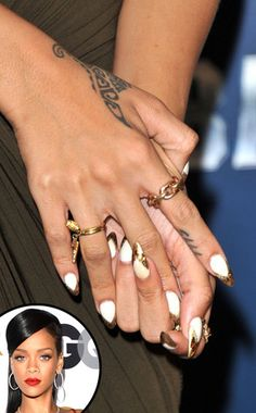 Black gets plenty of manicure play, but Rihanna proved that white can be just as edgy when paired with pointy stiletto nails and a gold tip. White Nails, Red Nails, Love Nails, How To Do Nails, Hair And Nails, White Manicure, Style Nails, Rihanna Nails, Rihanna Fenty