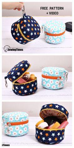 Crochet bags purses 291819250857073951 - DIY Mini Macaroon Makeup Bag Free Sewing Pattern + Video – Fabric Art DIY Source by suelstewart Fabric Art, Fabric Crafts, Sewing Crafts, Sewing Diy, Fabric Sewing, Sewing Patterns Free, Free Sewing, Pattern Sewing, Diy Bags Patterns