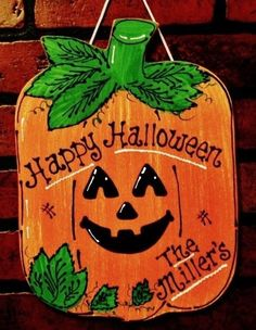 Personalized HAPPY HALLOWEEN Name Sign Pumpkin Holiday Plaque Decor Hanger #HandcraftedbyMillerFamilyWoodcrafts