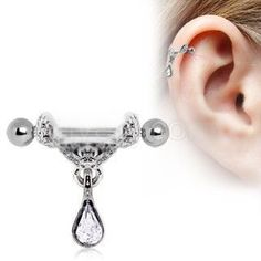 316L Surgical Steel Celtic Floral Tiara Ear Cuff with Tear Drop Dangle A Celtic inspired striking, elegant ear cuff Cartilage Crafted out of high quality 316L Surgical Steel and polished to a mirror f