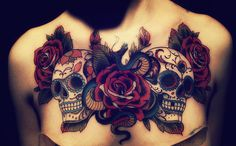 Sugar skulls chest piece. #tattoos #tattoo #ink