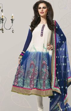 Navy Blue And Off White Faux Georgette Full Sleeve Long Anarkali Suit 15766