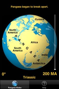 The pangaea app by Tasa Graphic Arts dynamically shows the breakup of the supercontinent Pangaea and the positions of the continents over the last 200 Ma. Illustrated by Dennis Tasa. Earth science geology app available for the iPod and iPhone.: