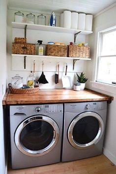 50 Adorable Farmhouse Laundry Room Ideas Storage Shelves Ideas Laundry room decor Small laundry room organization Laundry closet ideas Laundry room storage Stackable washer dryer laundry room Small laundry room makeover A Budget Sink Load Clothes Tiny Laundry Rooms, Laundry Room Shelves, Farmhouse Laundry Room, Laundry Room Organization, Laundry Room Design, Laundry In Bathroom, Organization Ideas, Storage Ideas, Laundry Area
