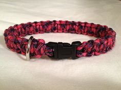 "Custom 12"" paracord dog collar in the color ""candy snake"". Order one like this at www.justdandybeautique.com! #paracord #dog #collar"
