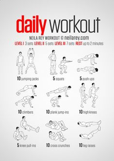 A simple no-equipment workout for every day: nine exercises, ten reps per set. Visual guide: print use.