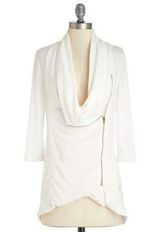 Likes: Versatile white cardigan with cowl neck, side zipper & 3/4 sleeves
