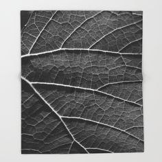 Leaf+in+black+and+white++Throw+Blanket+by+ARTbyJWP+-+$49.00