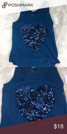 🆕 New York & Company Sequin ❤️ tank top blue logo Flowy tank with sequin heart logo . Would look great partially tucked in to some high waisted jean shorts Tops Tank Tops