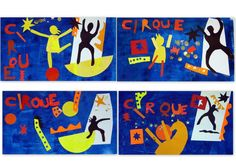 Matisse-style Circus cutout collage from les petites têtes de l'art Circus Crafts, Circus Art, Circus Theme, Clown Cirque, Ecole Art, Fauvism, Sports Art, Henri Matisse, French Artists