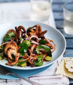 Baby octopus with green olives - Gourmet Traveller