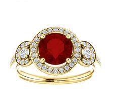 14 k trois diamants et rubis Pierre Solid par CrystalCasmanJewelry, $13999.00…