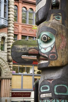Totem Pole in Pioneer Square, Seattle, Washington State.