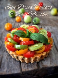 Sun-Dried-Tomato---Basil-Tartlet Sun-dried Tomato and Basil Cheese Spread Sun-Dried Tomato Pesto Sun-Dried Tomato and Basil Tart Crusts Extra cherry tomatoes for topping