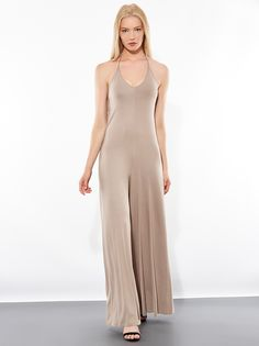 Viscose jumpsuit with V-open back