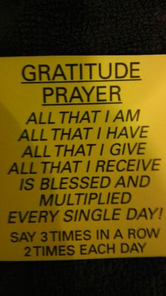 Gratitude prayer!