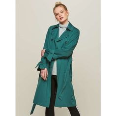 Miss Selfridge Green Double-Breasted Trench Coat (€92) ❤ liked on Polyvore featuring outerwear, coats, dark green, dark green trench coat, dark green coat, green coat, green trench coats and button coat