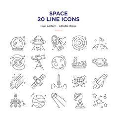 Icons Discover Space line icons set Game Design, Icon Design, Logo Design, Graphic Design, Flat Design, Vector Design, Design Design, Vector Art, Space Doodles