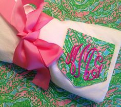 Lilly Pullitzer Fabric Monogrammed Pocket Tee on Etsy, $22.00