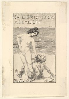 Ex Libris of Elsa Asenijeff  Max Klinger (German, Leipzig 1857–1920 Großjena)