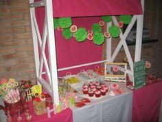 Strawberry Shortcake Party #strawberryshortcake #party 4th Birthday Parties, Kid Parties, 2nd Birthday, Birthday Ideas, Baby Girl Birthday Decorations, Strawberry Shortcake Birthday, Strawberry Decorations, Rock Star Party, Minecraft Party