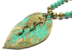 Leaf and Swallow Necklace  Patina Bronze/Turquoise by SwankyJewels - 42 euro