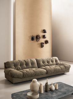 MILANO sofa with soft and cosy shapes made in Kashmir Mimétique leather. Design by Paola Navone Sofa Design, Furniture Design, Leather Sofa, Soft Leather, Paola Navone, Sofa Dimension, Sofa Tables, My Dream Home, Designer