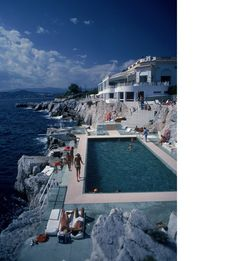 Slim Aarons Guests by the pool at the Hotel du Cap Eden-Roc, Antibes, France - Tixall House