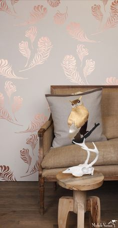 Plume Wallpaper Snow Copper - Michele Varian