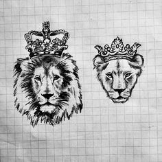 Matching tattoos Couple tattoos King and Queen Lion Crown Sketch