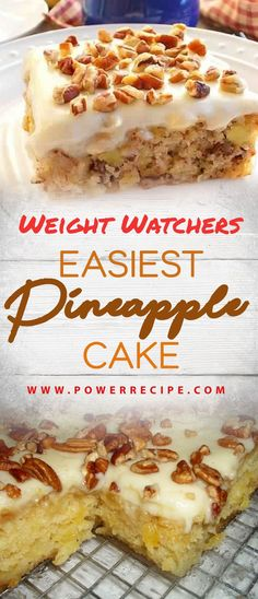 – All about Your Power Recipes Weight Watchers Easiest Pineapple Cake! – All about Your Power Recipes Weight Watcher Desserts, Weight Watchers Kuchen, Weight Watchers Meals, Pinapple Cake, Easy Pineapple Cake, Easiest Pineapple Cake Recipe, Crushed Pineapple Cake, Weight Watchers Pineapple Cake Recipe, Pineapple Recipes Healthy