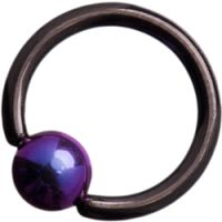 Black Titanium (Blackline) Ball Closure Rings with Bright Purple Titanium Ball