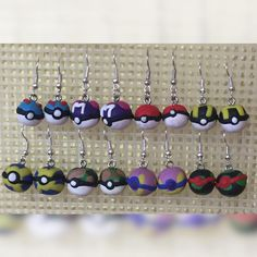 Lots of new earrings  #charms #polymer #polymerclay #clay #polymerclaycharm #pokemon #pokeball #earings #handmade