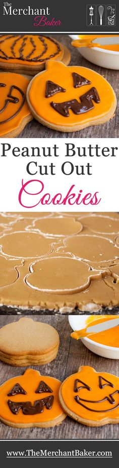 Peanut Butter Cut Out Cookies. A delicious roll and cut peanut butter cookie, topped with a sweet icing and decorated with melted chocolate.