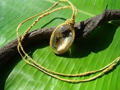 Organic Silk Cord macrame necklace with fine by Rewildstudio