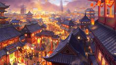 With a population of more then citizens. Zhongsun is counted among the larges city's in the known world. Fantasy City, Fantasy Places, Fantasy World, Fantasy Landscape, Landscape Art, Wallpaper Kawaii, Photo Manga, Anime Places, Fantasy Setting