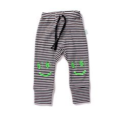 minti striped pants w/ smiley face knees.