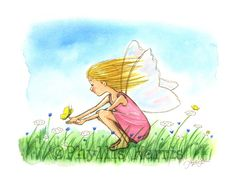 This little girl fairy is spreading joy and hope wherever she goes. This would be lovely in any little girl's room.NOTE: Most of my art is customizable! If you see a piece you love but it has the wrong hair color for your personal preference...PLEASE message me and most likely I can accommodate you. Or maybe you would like to add a name or text