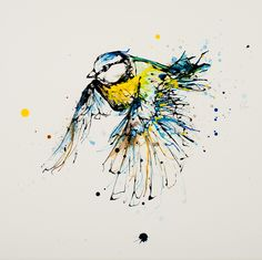 Blue tit in flight print by Irish artist Kathryn Callaghan Watercolor Bird, Watercolor Animals, Watercolor Illustration, Watercolor Paintings, Watercolors, Bird Line Drawing, Bird Drawings, Animal Drawings, Rainbow Painting