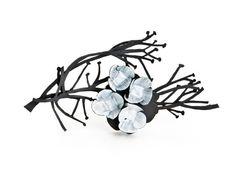Twiggy Turnip Weed brooch, Nina Ellis.  Mild steel, sterling silver, white enamel paint  (viae.g.etal)