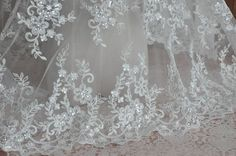 Ivory Alencon Lace Fabric Sequined Wedding Lace by Lacebeauty