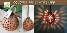 Coconut Shell Crafts - Hanging Lamp Shade - Created by kavin Crafts , Pondicherry, India