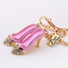 Fashion Beautiful Pair Laduree Keychain Macaron Enamel High Heeled Shoes Key Chain Rhinestone Car Accessories Women