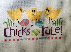 completed cross stitch Lizzie Kate Easter Chicks Rule!