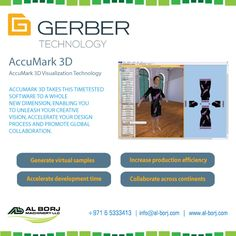 #AccuMark Next-generation #pattern design #software for the fashion and apparel industry | The world's leading software to design, develop and market their products as quickly and efficiently as possible | AccuMark 3D modules take your speed and efficiency to a whole new level | for more detail please contact us via hassan@alborj.com | +971 52 6675388 | www.al-borj.com  #alborjmachineryllc #GerberTechnology #MarkerMaking #Designing #Apparel #Garments #tailors #Fashion #UAE #Dubai