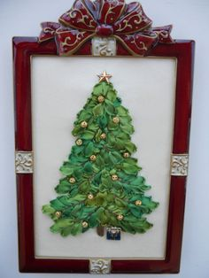 Silk Ribbon Embroidery Framed Christmas by ItsSewPrettyByJanet